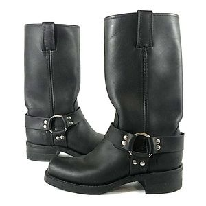Frye Black Leather Harness Boots 7